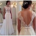 2017 Nova Lace Custom Made Vestidos de Casamento Vestido de Noiva Casamento Robe De Mariage Chiffon Ver através de Vestidos de Noiva Sem Encosto
