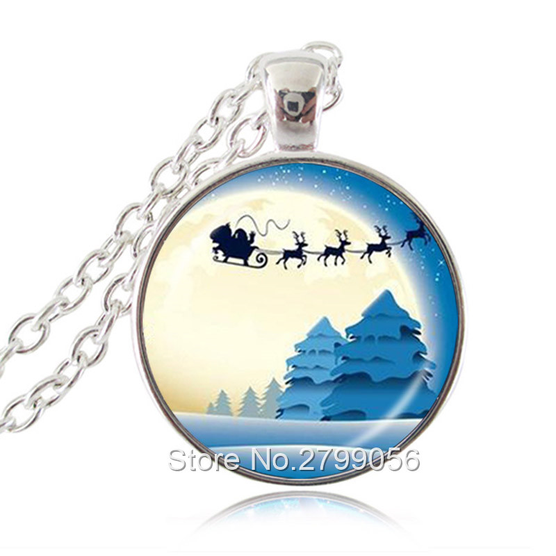 Santas Sledge and Reindeer Charm Jewellery Gifts for Her Father Christmas in Full Moon Necklace Pendant
