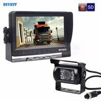 DIYKIT AHD 7นิ้วTFT LCD Monitorรถมองหลังจอภาพกันน้ำIR 1300000พิกเซลAHDกล้องสนับสนุนการ์ดSDวิดีโอบันทึก