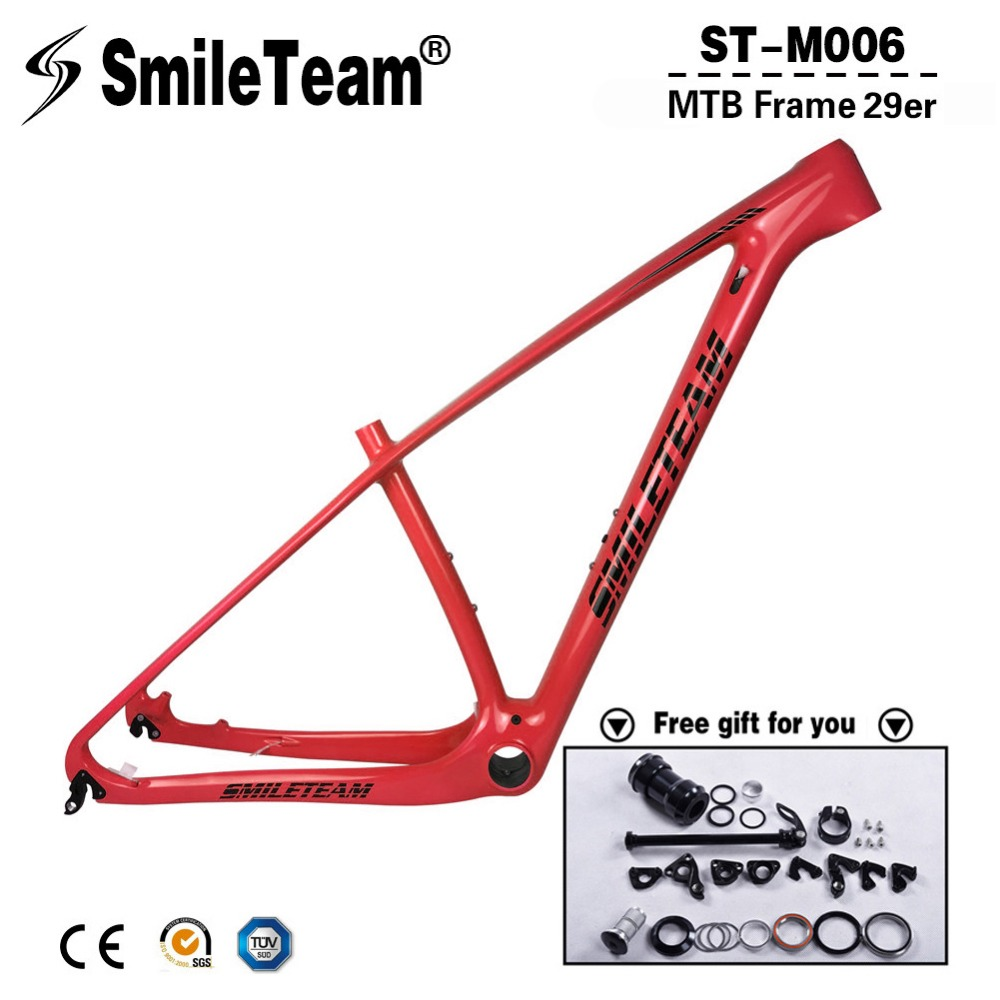 Smileteam 2018 Model Carbon MTB Bicycle Frames 29er Full Carbon Mountain Bike Frames Compatible Thru Axle 142x12mm or QR 135x9mm fouriers qr s005 alloy and carbon bonded lever cr mo axle bicycle quick release for road bike or mtb
