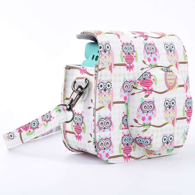 Lovely Owl Pattern Camera Bag Case with Shoulder Strap for Fujifilm Instax Mini 8/Mini 8s Fuji Film Camera White