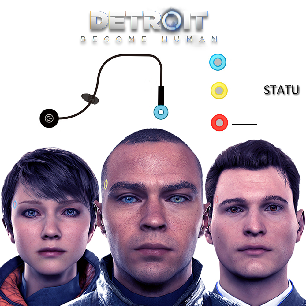 Game Detroit : Become Human Cosplay Connor RK800 Wireless Temple Flash Led Light Boys Girls Carnival Christmas Party Props