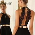 Сексуальная Вышивка Вырез Кружева Повязки Dress 2016 Лето Новая Мода Рукавов О-Образным Вырезом Bodycon цельный Dress