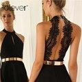Atractiva del bordado del cordón del recorte del vendaje dress 2016 nueva manera del verano sin mangas del o-cuello de bodycon de una sola pieza dress