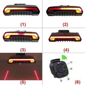 Image 3 - Meilan lampe de bicyclette de frein intelligent, Rechargeable par USB, Laser, clignotant, feu arrière, télécommande sans fil