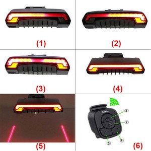 Image 3 - Smart Brake Bicycle Light Meilan X5 USB Rechargeable Bike Laser Light Turn Signal taillight Wireless Remote Control Rear Lamp