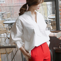 2017 New Spring Women Shirts Butterfly Full Sleeve Loose Western Style Open Blouse Shirt White 3680