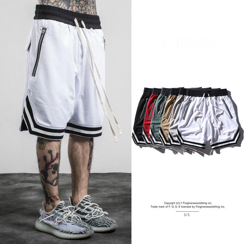 European American Men 2017 Tide Brand Spring Summer Zipper Loose Casual Shorts hiphop Men's Shorts