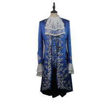 2017 Movie Beauty and The Beast Dan Stevens Beast Blue Trench Shirt Vest Costume Cosplay for Halloween Carnival Party
