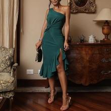 Elegante vestido de fiesta de un hombro para mujer 2018 Vestido ajustado de moda de verano nuevo Scrunch dividir volantes dobladillo robe femme