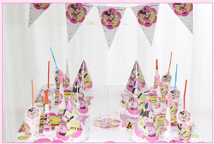 82pcs Minnie Mouse Baby birthday party decoration Disposable tableware tablecloth cups plates kids shower supplies Girl Favors in Disposable Party Tableware from Home Garden