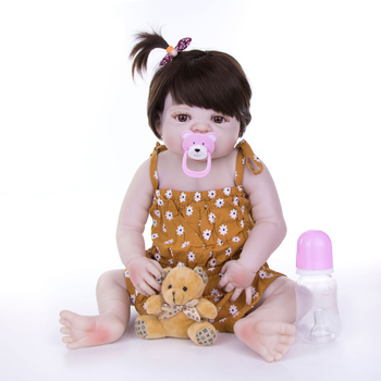 23inch Full Silicone Body Reborn Baby Doll Toys Lifelike 55cm new real reborn Babies Doll kids birthday play house baby