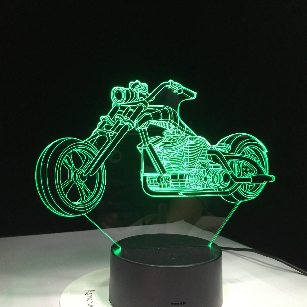 3D Design Motorcycle Night Light Home Decoration 7 Color-Changing Atmosphere Lamp With USB Charger LED Novelty Lights Drop Ship