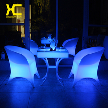 Remote Control Cordless Chargeable Lighted LED Chair Set Glowing Bar Furniture Restaurant Hotel Home Dining Room Plastic Chairs