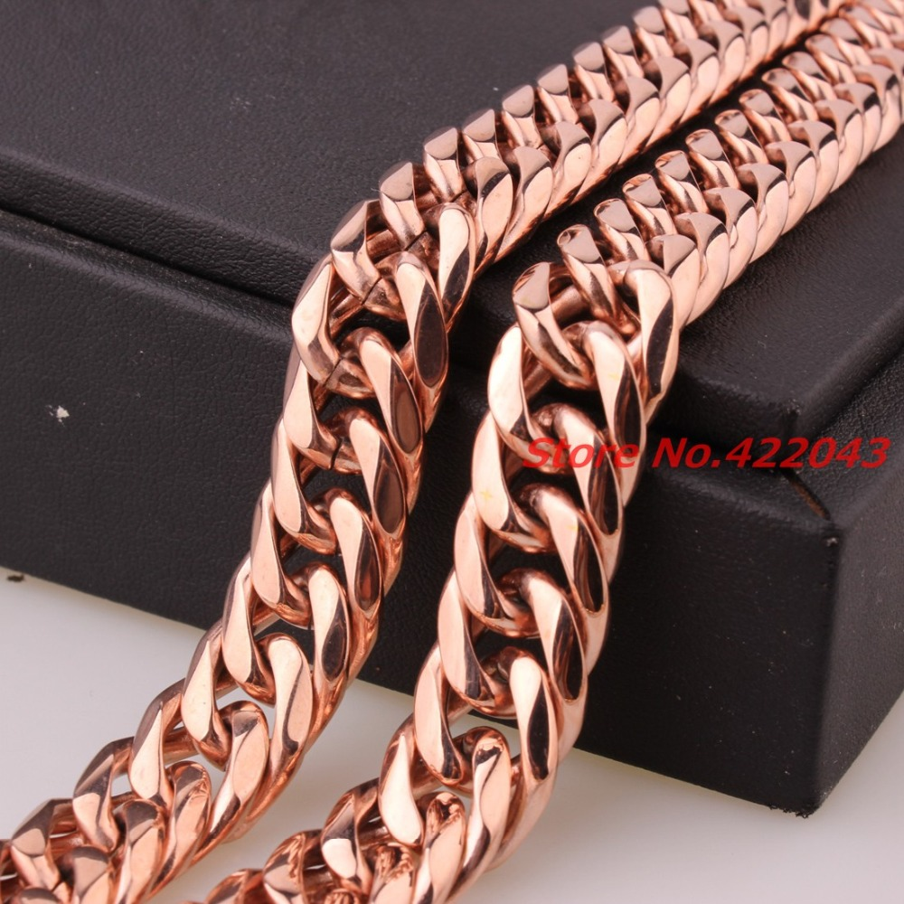 """7/""""-40/""""Heavy Stainless Steel Rose Gold Mens Curb Cuban Chain Necklace or Bracelet"""
