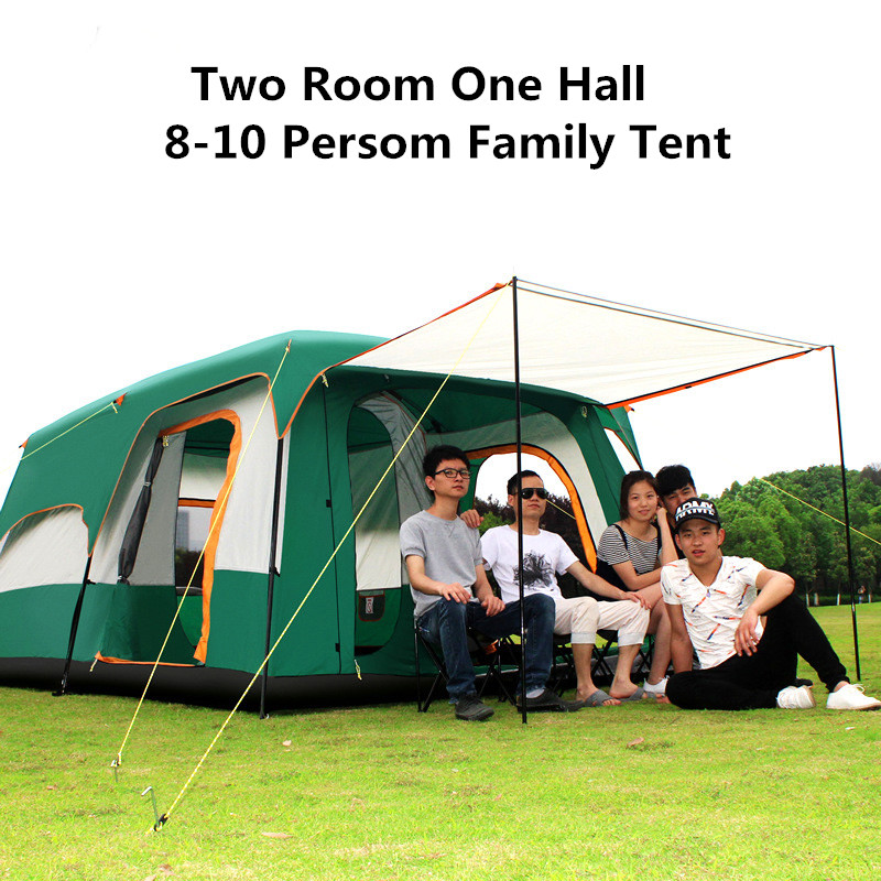 Camel Family Camping Tent 6 8 10 Person Large Big Double Tent Two Rooms Waterproof Family Tent Picnic outdoor double layer 10 14 persons camping holiday arbor tent sun canopy canopy tent