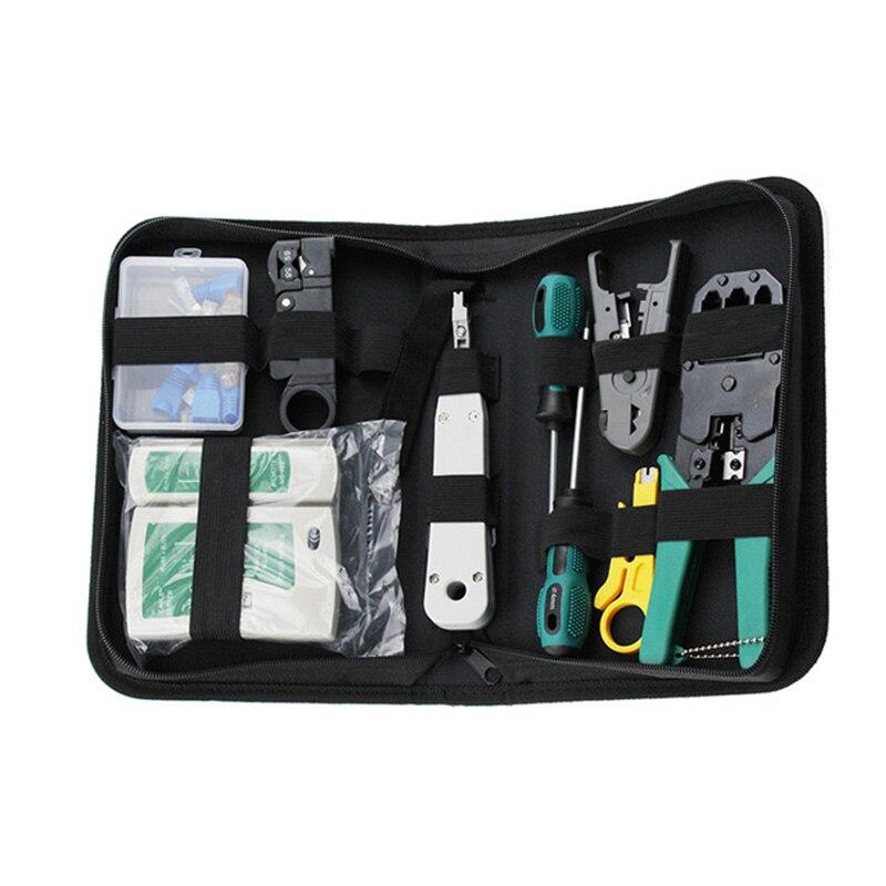 11 pièces/ensemble RJ45 RJ11 RJ12 CAT5 CAT5e Kit d'outils de réparation de réseau LAN Portable testeur de câble Utp et pince à sertir pince à sertir