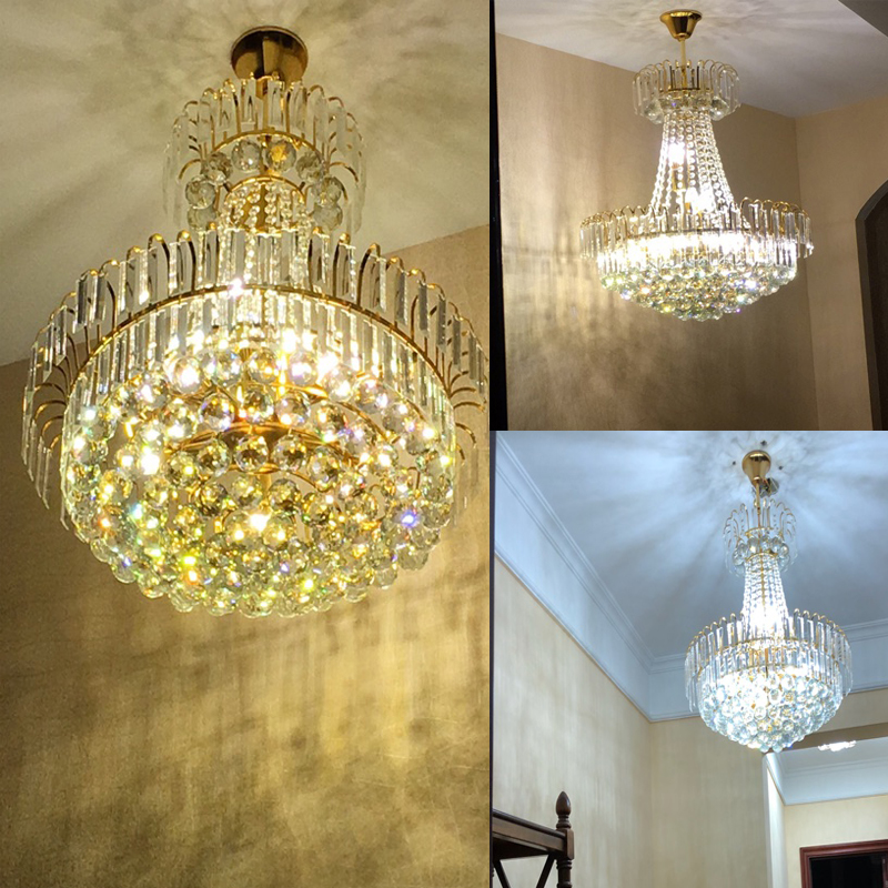 Royal Empire Golden k9 Crystal chandelier Light French Crystal Ceiling Pendant Lights D600mm X H700mm