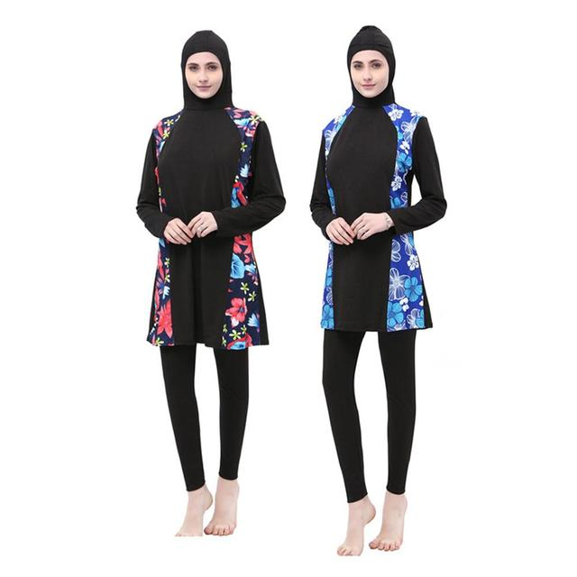 Women Arabian Muslim Islamic Swimwear 2 Pieces Connected Hijab Conservative  Swimsuit Hui Nationality Swimwear Burkinis Plus Size 0563f5ddccae
