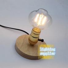 Lámpara de lectura de cabecera para dormitorio, lámpara de mesa Industrial Vintage, Edison bombilla, lámpara de escritorio de madera E27 (madera/Negro/beige)