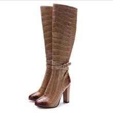 women knee high boots winter crocodile grain square heel round toe buckle strap fashion single shoe size 34-44