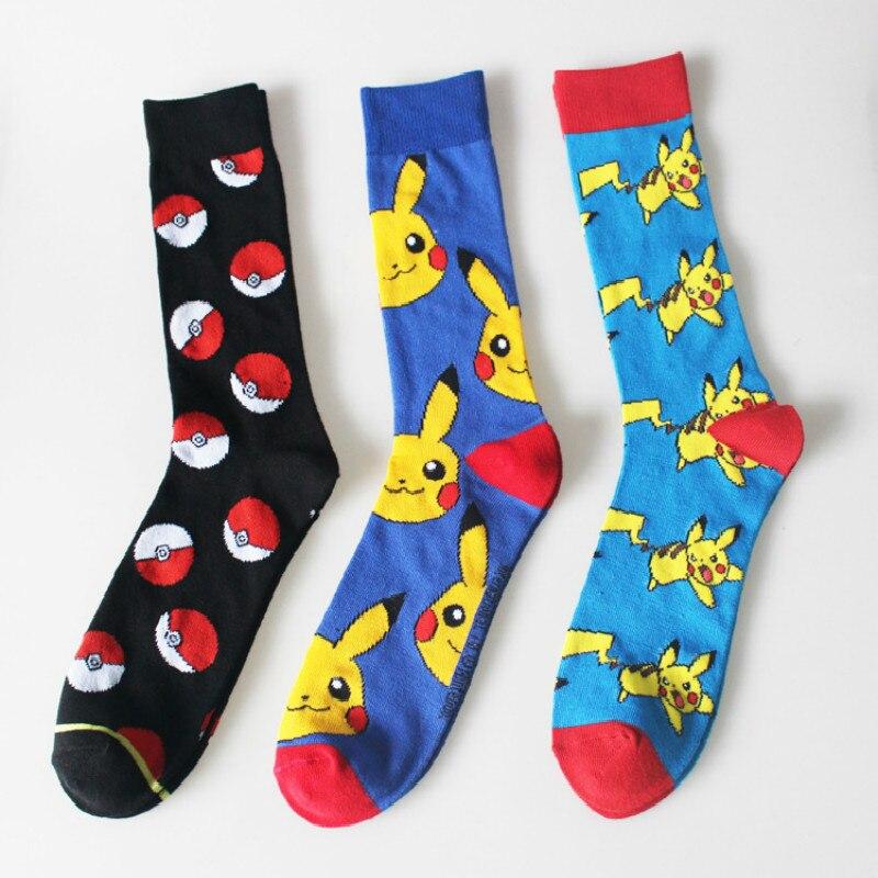 New Fashion Men Spring Winter Socks Cartoon Kawaii Pikachu Pokemon Knitting Socks Hip-Hop Skateboard Socks