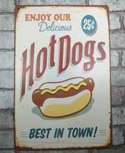 1 pc Hotdogs Sandwiches Tin Plate Sign plate wall man cave Decoration Metal Art Dropshipping Poster metal