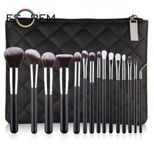 ESOREM 15 Pcs Soft Makeup Brushes With Reticulate Pattern Bag Set Brush Angled Shading Small Stippling Brochas Maquillaje