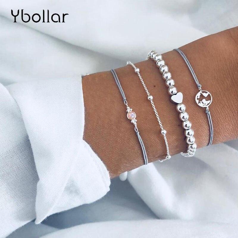 4pcs/Set Map Heart Gem Chain Waxed Leather Beaded Bracelet Set Bohemian Women Fashion Jewelry Gift