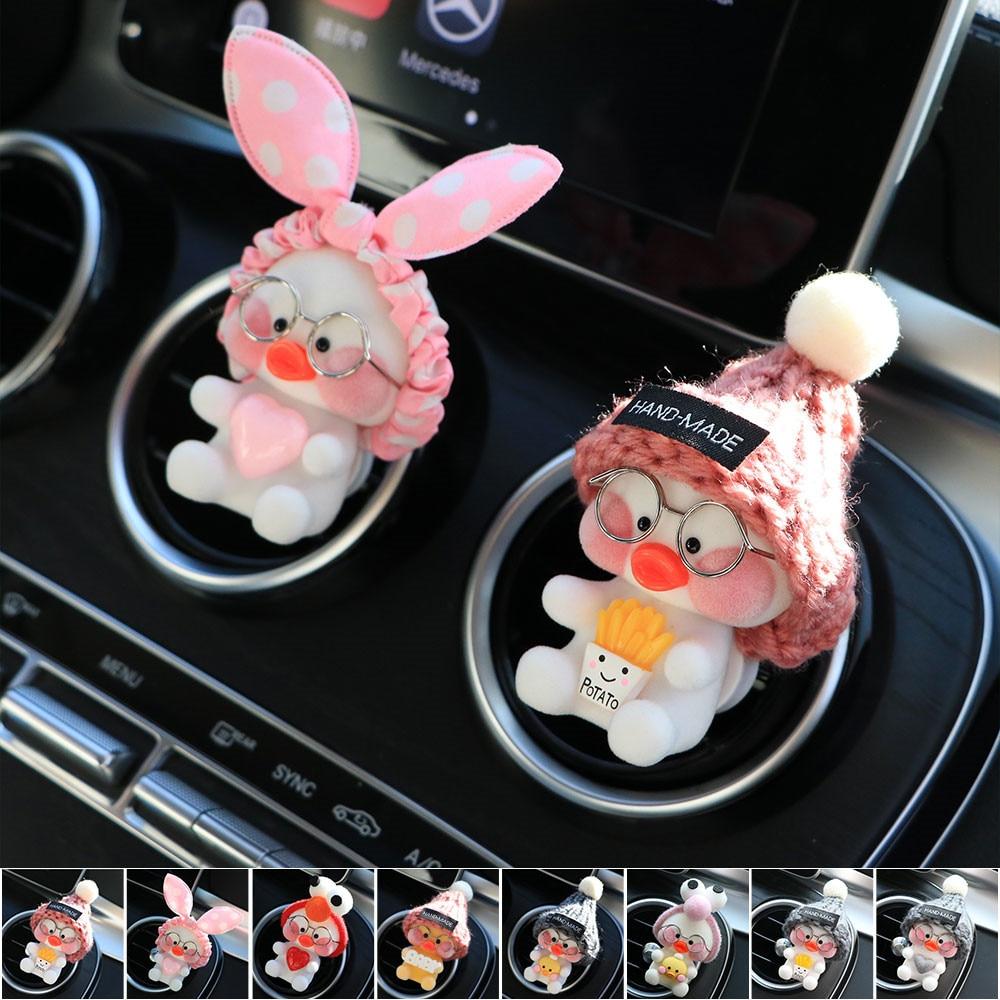 Difusor del aire Interior del coche creativo decoración del respiradero linda manera Hyaluronic Duck fragancia ambientador titular y contenedor