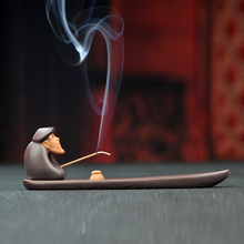 Ceramic fisherman Censer lying in joss stick inserted sandalwood seat room antique incense burner Free Shipping E