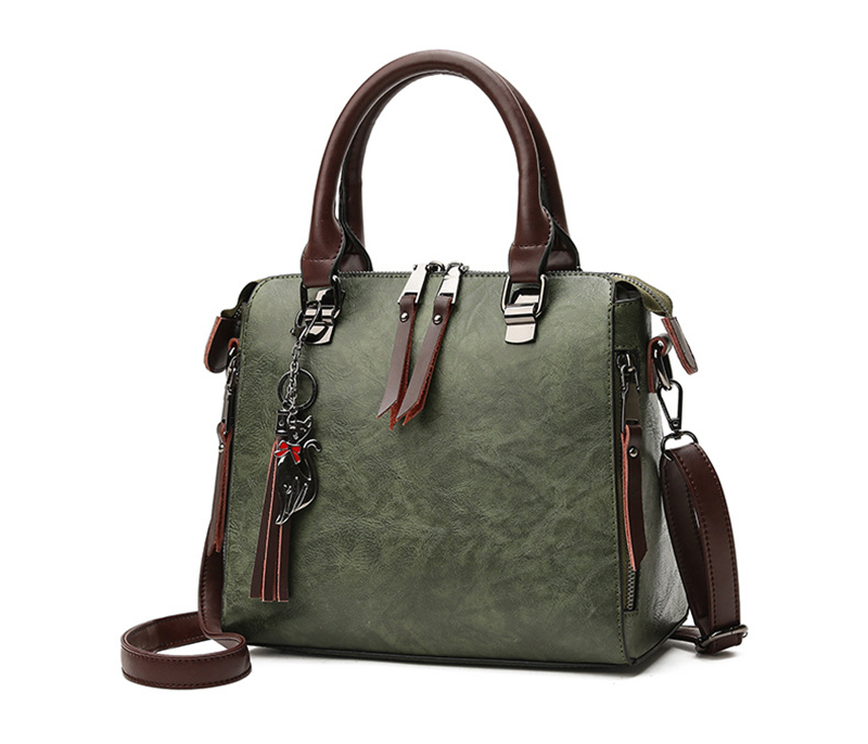 pure leather bag green color