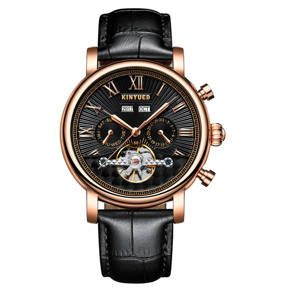 Tourbillon Men Top Luxury Brand Watches Automatic Mechanical Watch Stainless Steel Waterproof KINYUED relogio masculino 2018 недорго, оригинальная цена