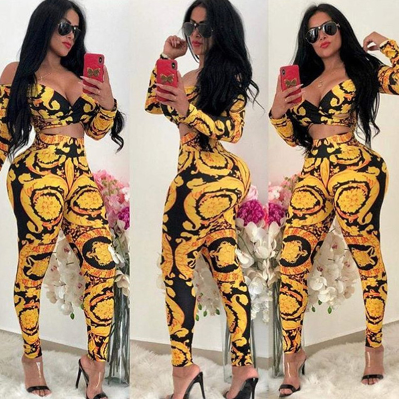 New Sexy Long Sleeve Off Shoulder   Jumpsuit   Women Slash Neck Hollow Out Floral Printed Romper Nightclub One Piece Pants Overalls
