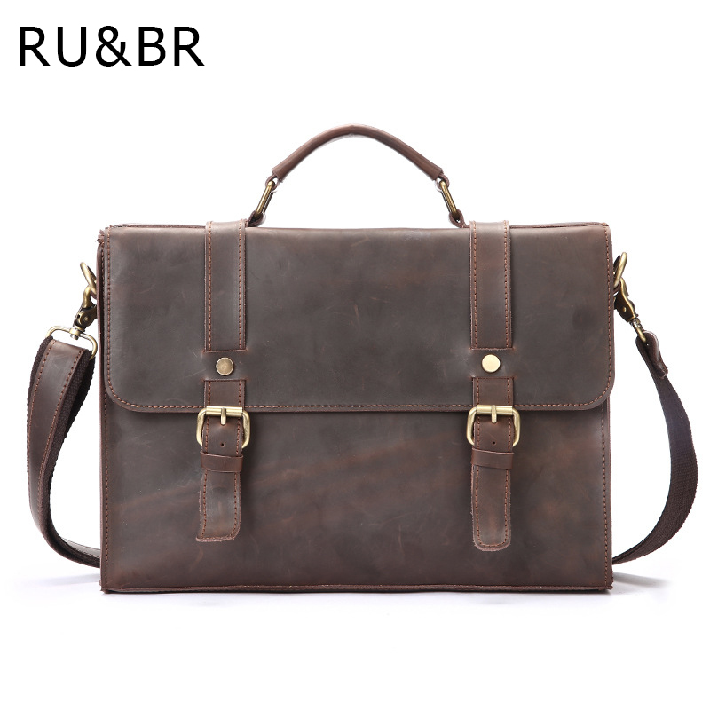 RU&BR New Genuine Leather Men Shoulder Bag Crazy Horse Leather Mens Vintage Business Casual Messenger Bag Briefcase Computer Bag new casual business leather mens messenger bag hot sell famous brand design leather men bag vintage fashion mens cross body bag