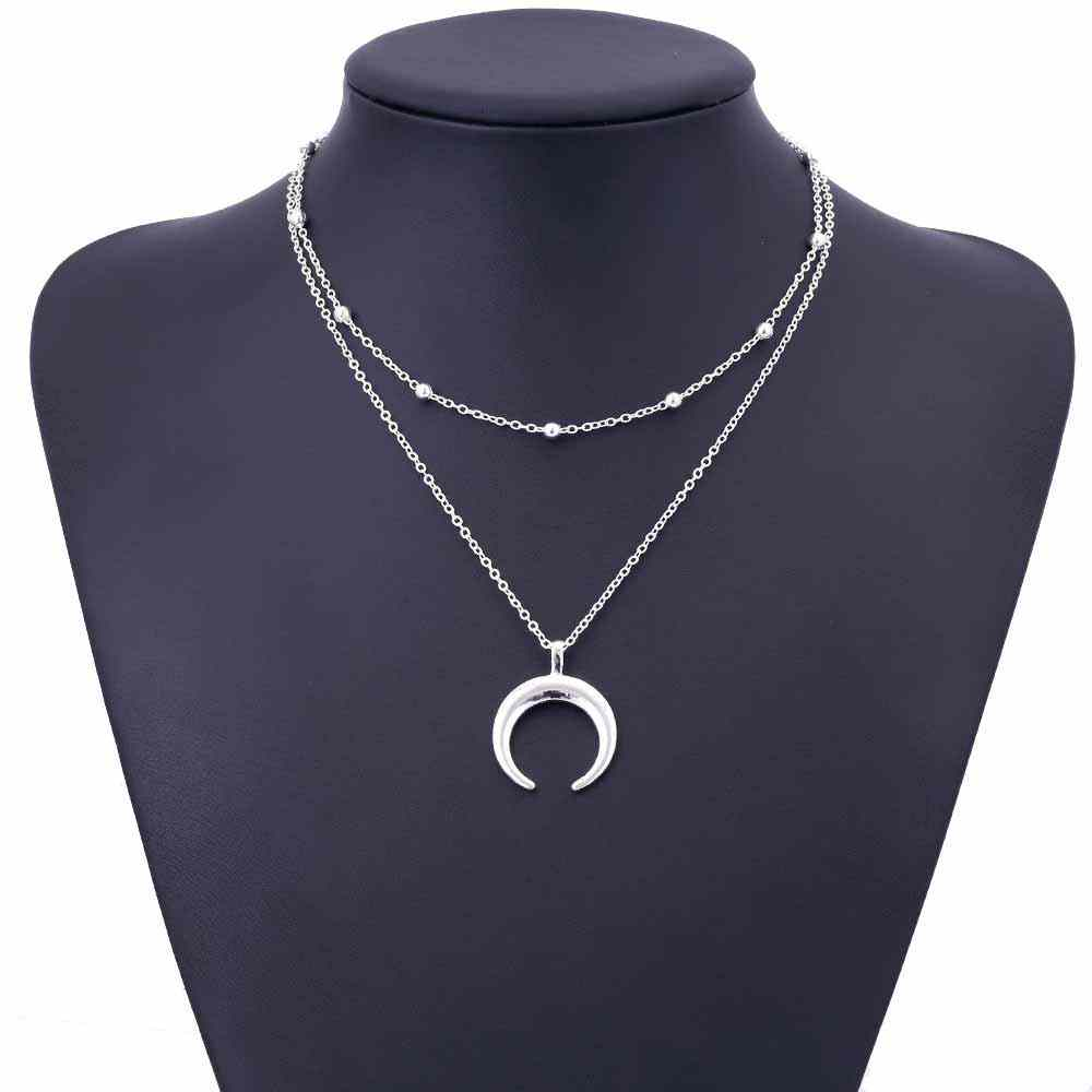 KISSWIFE 2018 New Fashion Double Horn Necklace Crescent Moon Necklace Boho Jewelry Minimal Girlfriend Gift