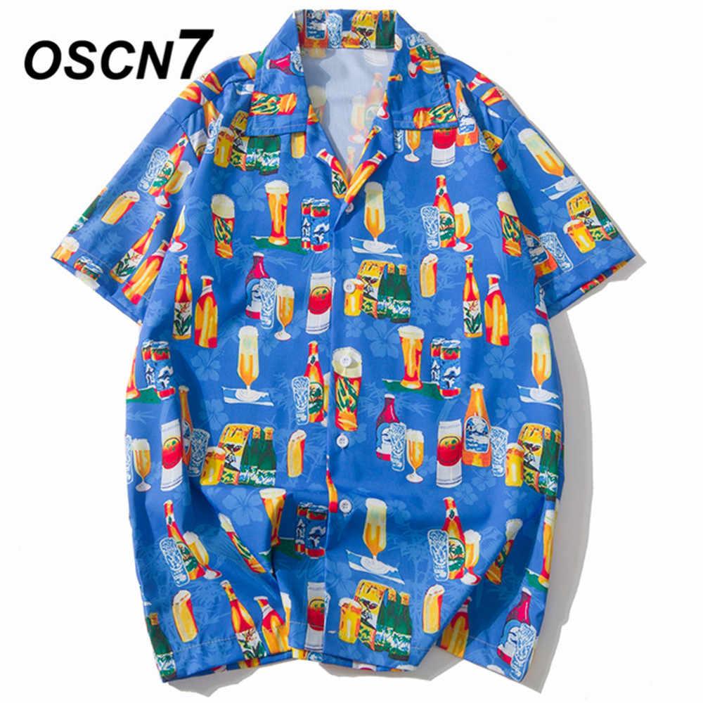 OSCN7 2019 カジュアルプリント半袖シャツ男性ストリート夏ハワイビーチ女性のファッションルーズ半袖シャツメンズ XQ53