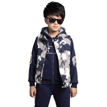 2016 children's clothing style suits winter sports fleece fashion cotton boy with thick camouflage vest three-piece suit Sets