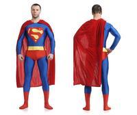 High Quality Superman Spandex Suit Costume Blue Zentai Suit Superman Costume Adult Spandex Cosplay Superhero Movie Costumes