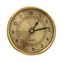 Nuevo reloj de mesa de arte Vintage de 90mm con reloj de escritorio de iluminación reloj de escritorio incrustado esfera redonda de oro