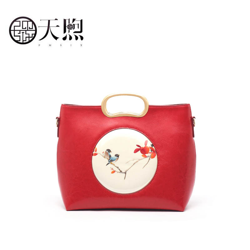 Pmsix 2019 New Superior cowhide Leather handbags fashion women Luxury Fashion embroidery handbag tote women leather shoulder bag