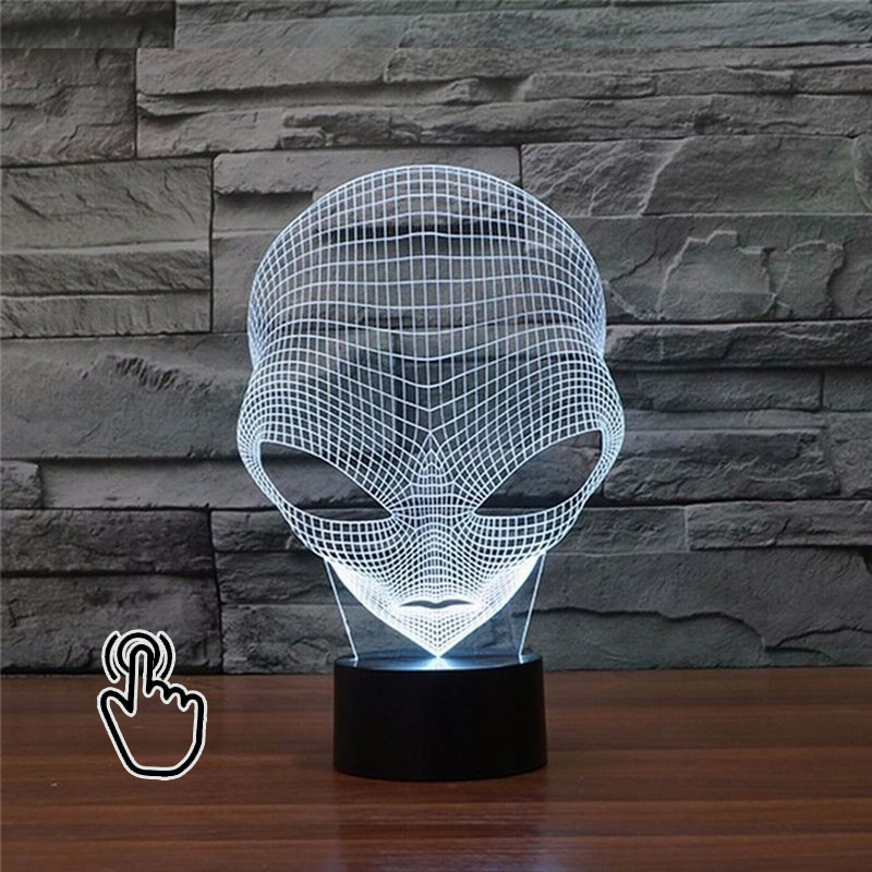3D LED 1Piece 7 Colors ET Changing Hologram Illusion Pop-eyed Alien Shape Lamp Acrylic Night Light With Touch Switch Luminaria