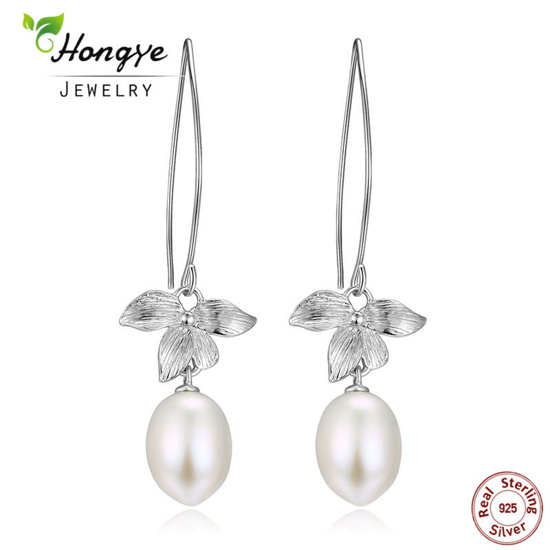 Hongye Baru 100% 925 Sterling Silver Drop Earrings Daun Bunga Mutiara Air Tawar Alami Anting Wanita Romantis Menjuntai Anting