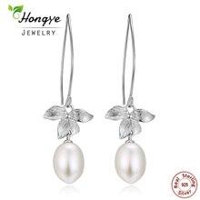 Hongye 2017 New 100% Authentic 925 Sterling Silver Flower Freshwater Pearl Female Romantic Earrings TOP Quality Drop Earrings
