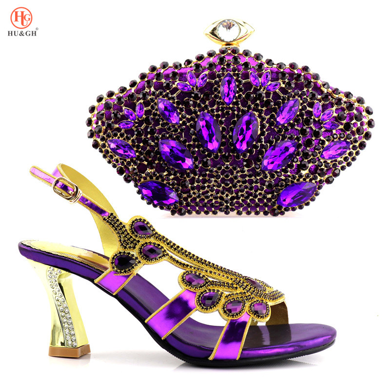 2018 Ladies PU Leather Shoes and Bag Set Purple Italian Shoes with Matching Bags High Quality African Shoe and Bag Set for Party цены онлайн