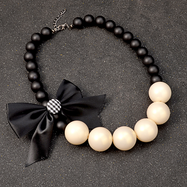 Chunky wood chain big simulated pearl jewelry ribbon flower necklace  2