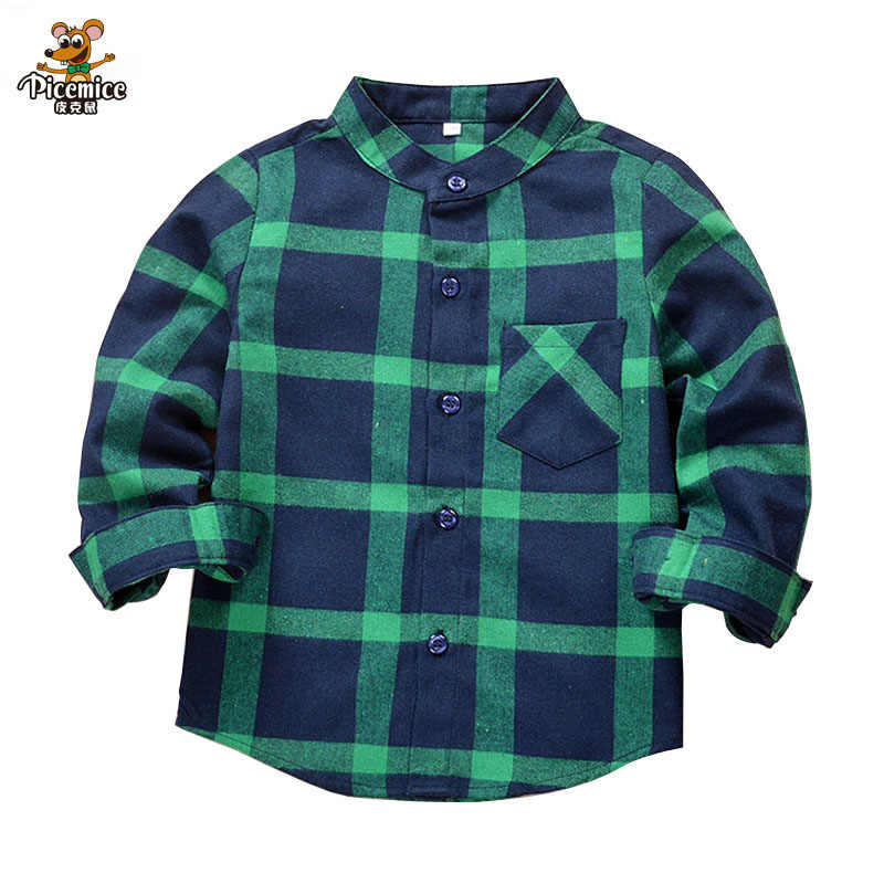 New 2019 Autumn Children Boys Shirts Fashion Plaid Mandarin Collar Long Sleeves Shirts For 2-12 Years Old Kids Wear Clothes