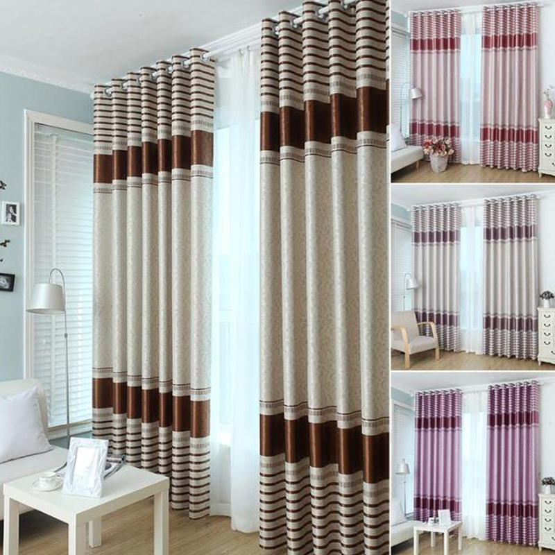 Buy modern stripe jacquard blackout Contemporary drapes window treatments
