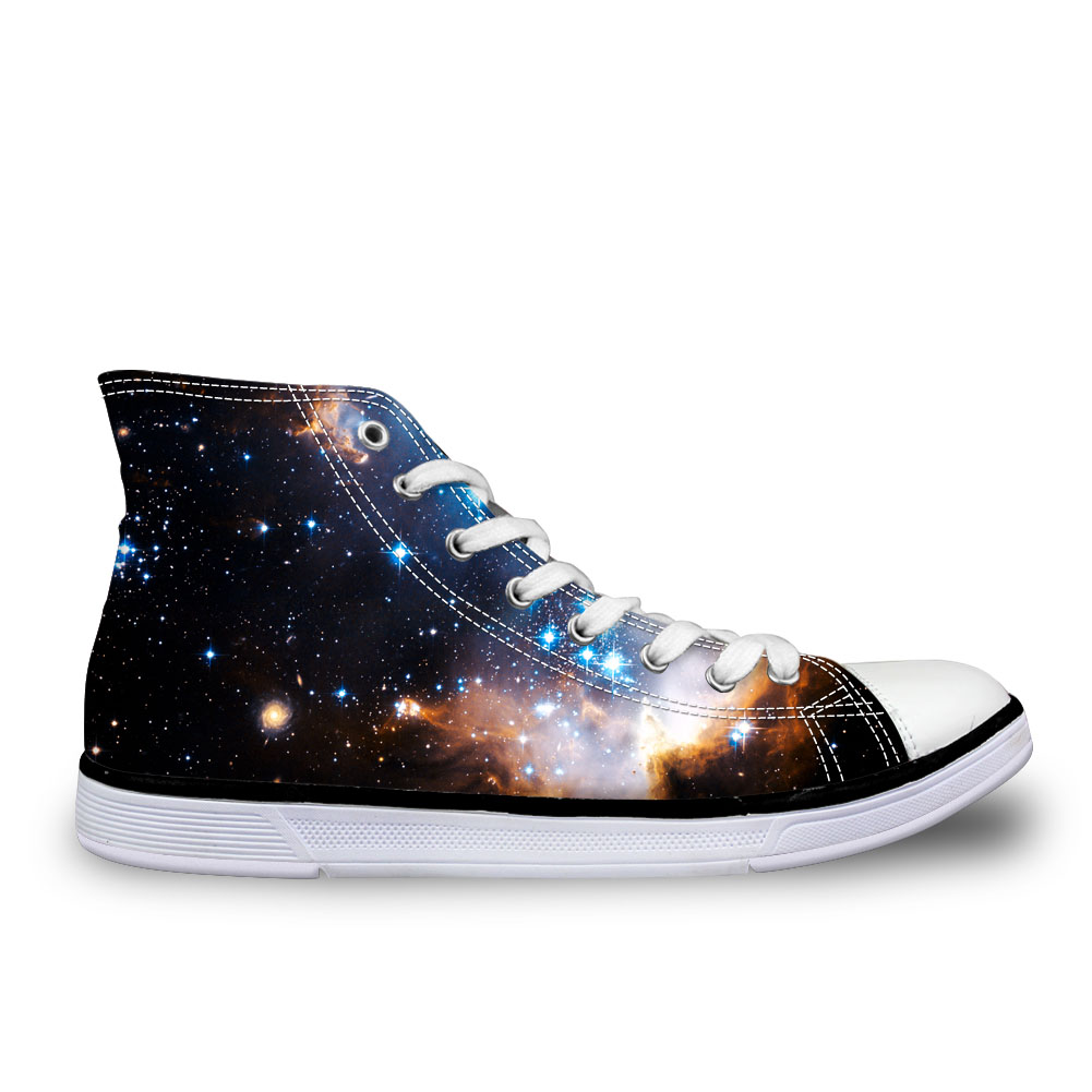 Fashion Women Casual Galaxy Flat Shoes Vulcanized High-Top Canvas Shoes Ladies Flats Female Lace-up Shoes Girl Space Nigh Sky lakeshi women canvas shoes women casual shoes summer comfortable lace up women flat shoes fashion sneakers white shoes female