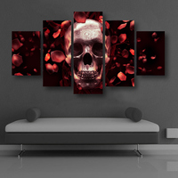 2017 5 Piece Unframed Rose and Skull Artwotk Canvas Painting Pictures for Home Decoration Modern Abstract Wall Poster